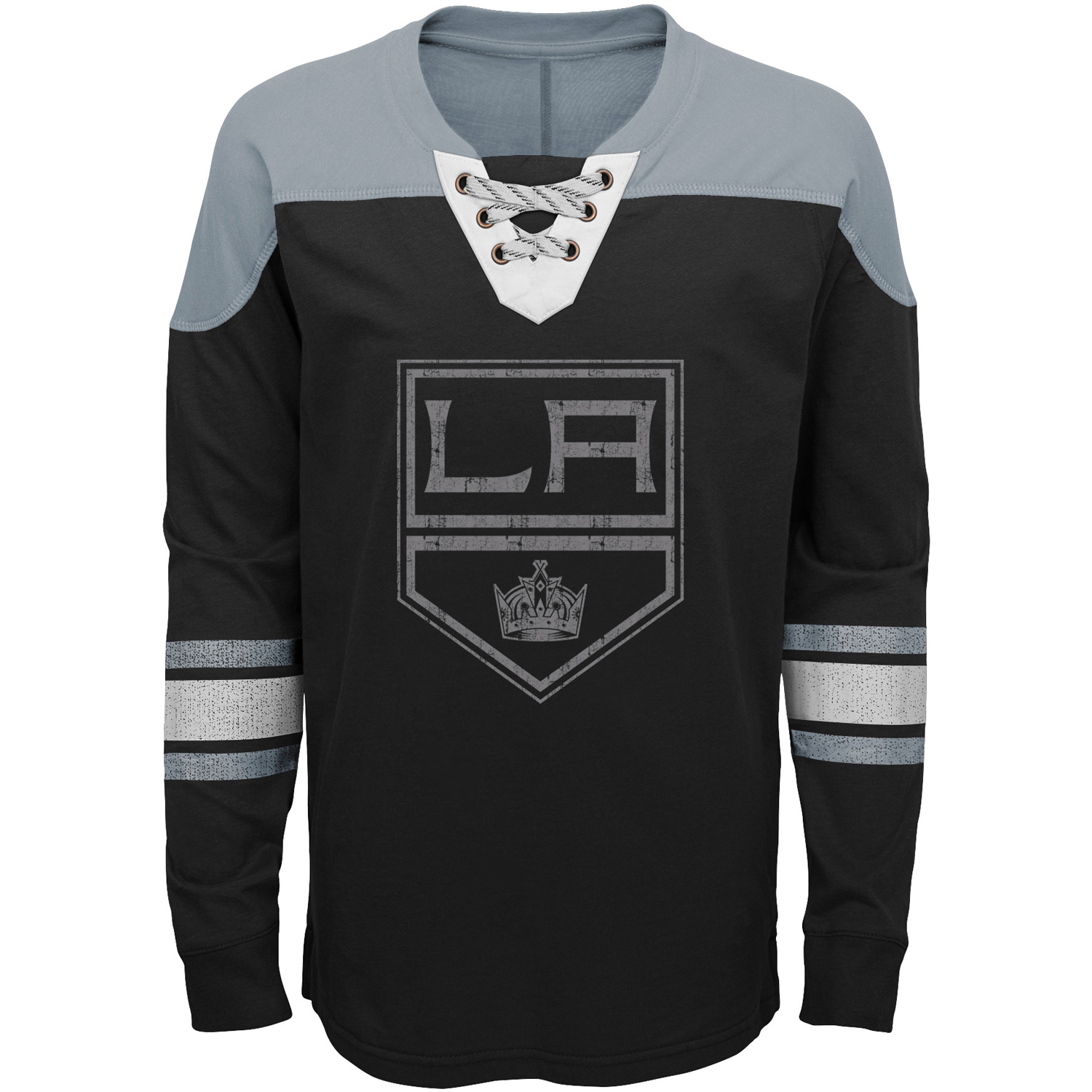 Los Angeles Kings Youth Perennial Hockey Lace-Up Crew Sweatshirt Black Gray by Outerstuff