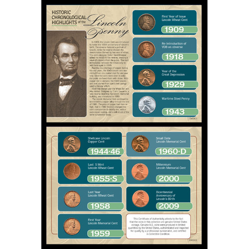 American Coin Treasures Historic Chronological Highlights of the Lincoln Penny Framed Memorabilia