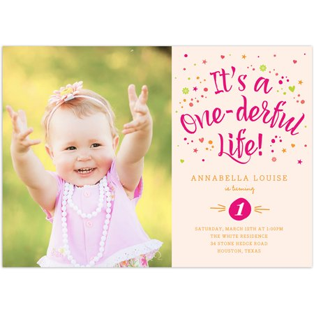 One-derful Life Birthday First - Halloween First Birthday Photo Invitations