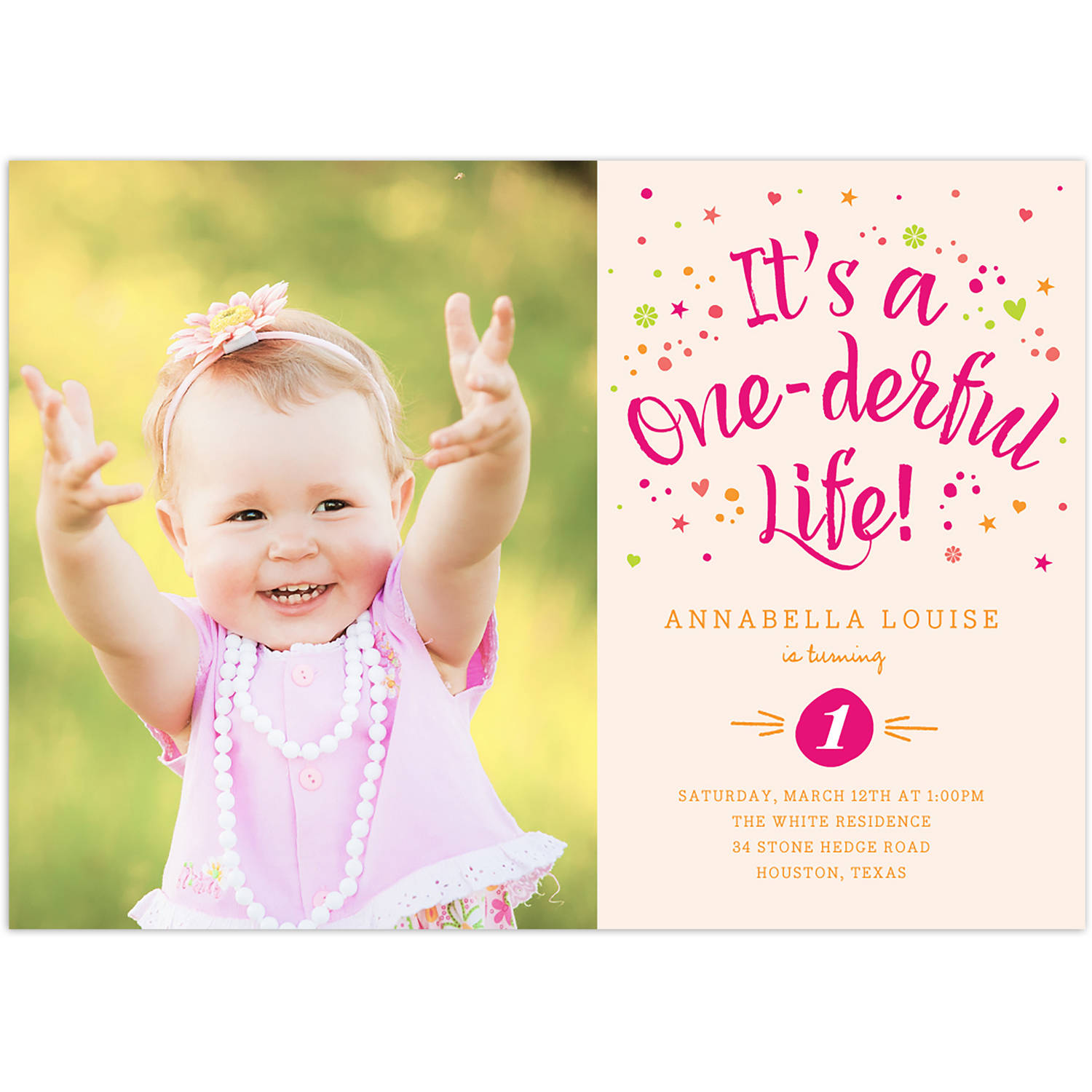 One-derful Life Birthday First Invitation