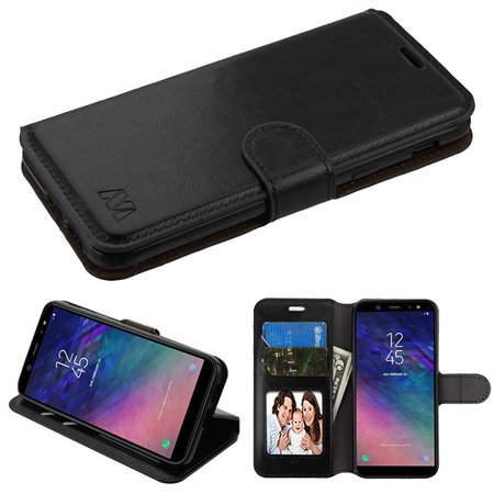 Samsung Galaxy A6 (2018 Model) - Phone Case Leather Flip Wallet Case Cover Stand Pouch Book Magnetic Buckle BLACK Phone Case for Samsung Galaxy A6