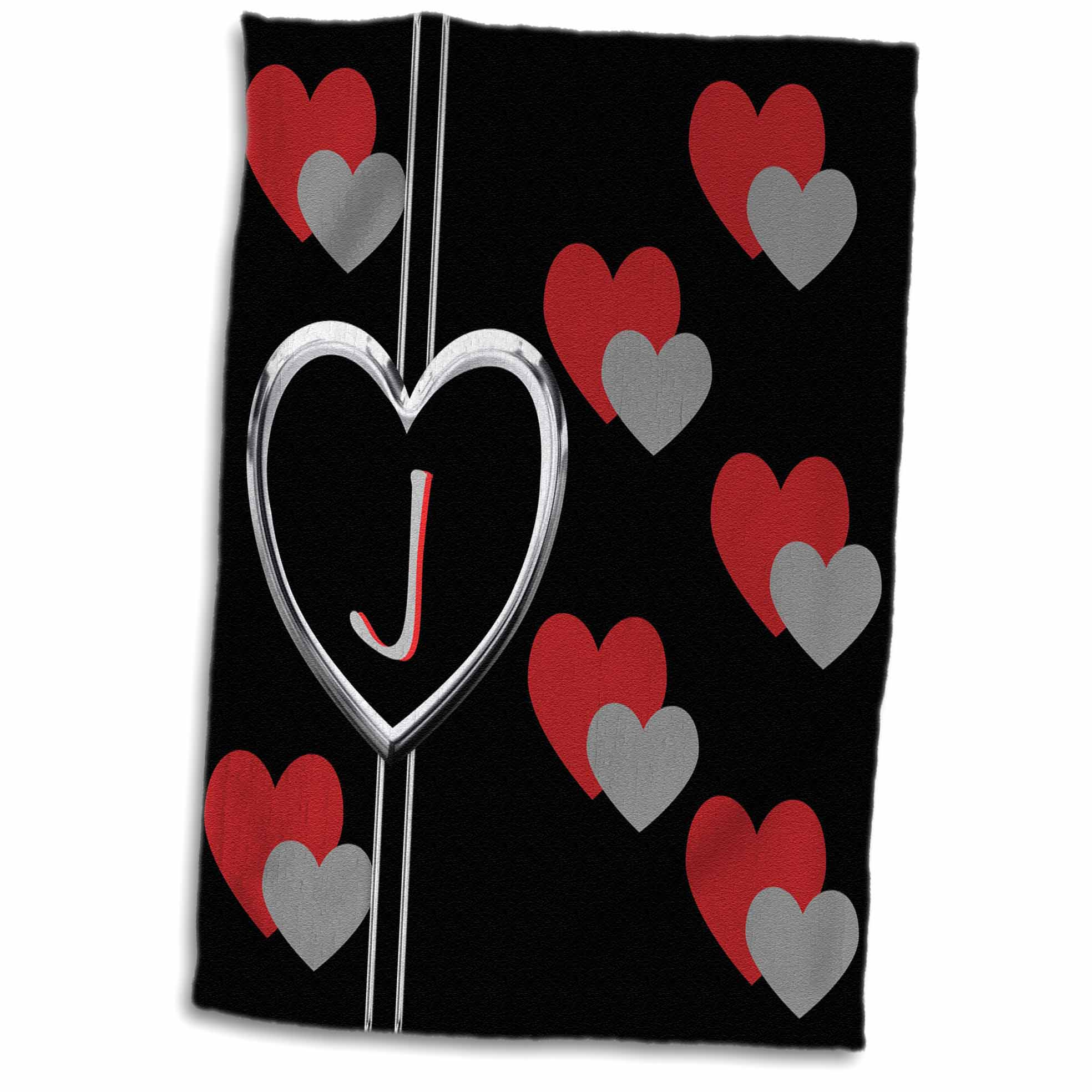 3dRose Modern Geometric Black Red Grey Hearts Pattern Monogram Letter J - Towel, 15 by 22-inch
