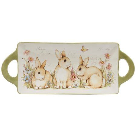 Certified International  Bunny Patch Rectangular Tray with Handles