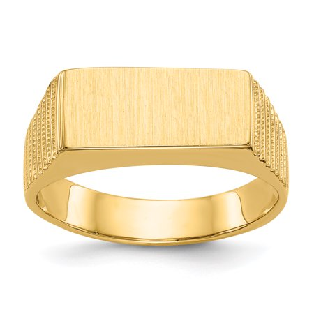 14k Yellow Gold 7.0x15.0mm Mens Signet Band Ring Size 9.50 Man Gift For Dad Mens For Him