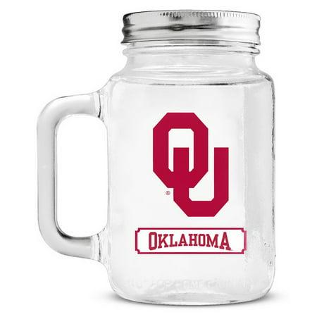 Oklahoma Sooners Mason Jar Glass With Lid Oklahoma Sooners Glass