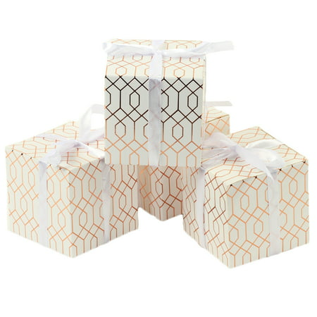 Koyal Wholesale Gift Favor Box Rose Gold Foil, Geometric Hexagon Pattern Favor Box with Ribbon, in Bulk 25-Pack - Wholesale Boxes