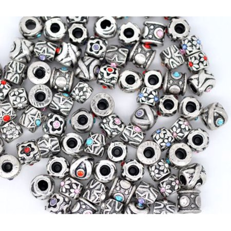 Twenty Five (25) Pack of Assorted European Style And Rhinestone Charm Beads. Compatible With Most Major Charm Bracelets.