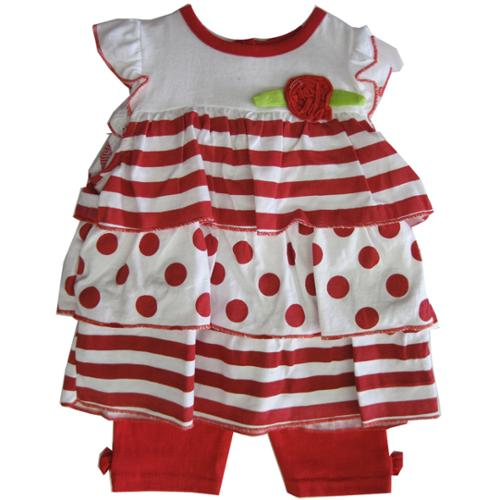 Weeplay Baby Girls Red White Striped Dotted Flower 2 Pc Pants Set 12-24M