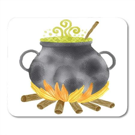 LADDKE Green Autumn Watercolor Witch Cauldron Potion Halloween Black Boiler Mousepad Mouse Pad Mouse Mat 9x10 inch - Witches Potion Halloween Drink