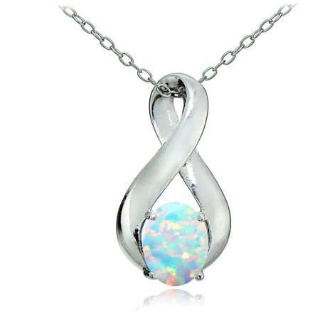 Created White Opal Sterling Silver Infinity Necklace - October Birthstone Necklace