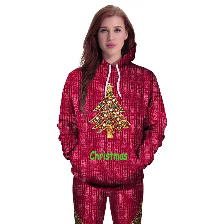 Long-Sleeved Hooded Pullover Sweaters With Christmas Tree Print ...