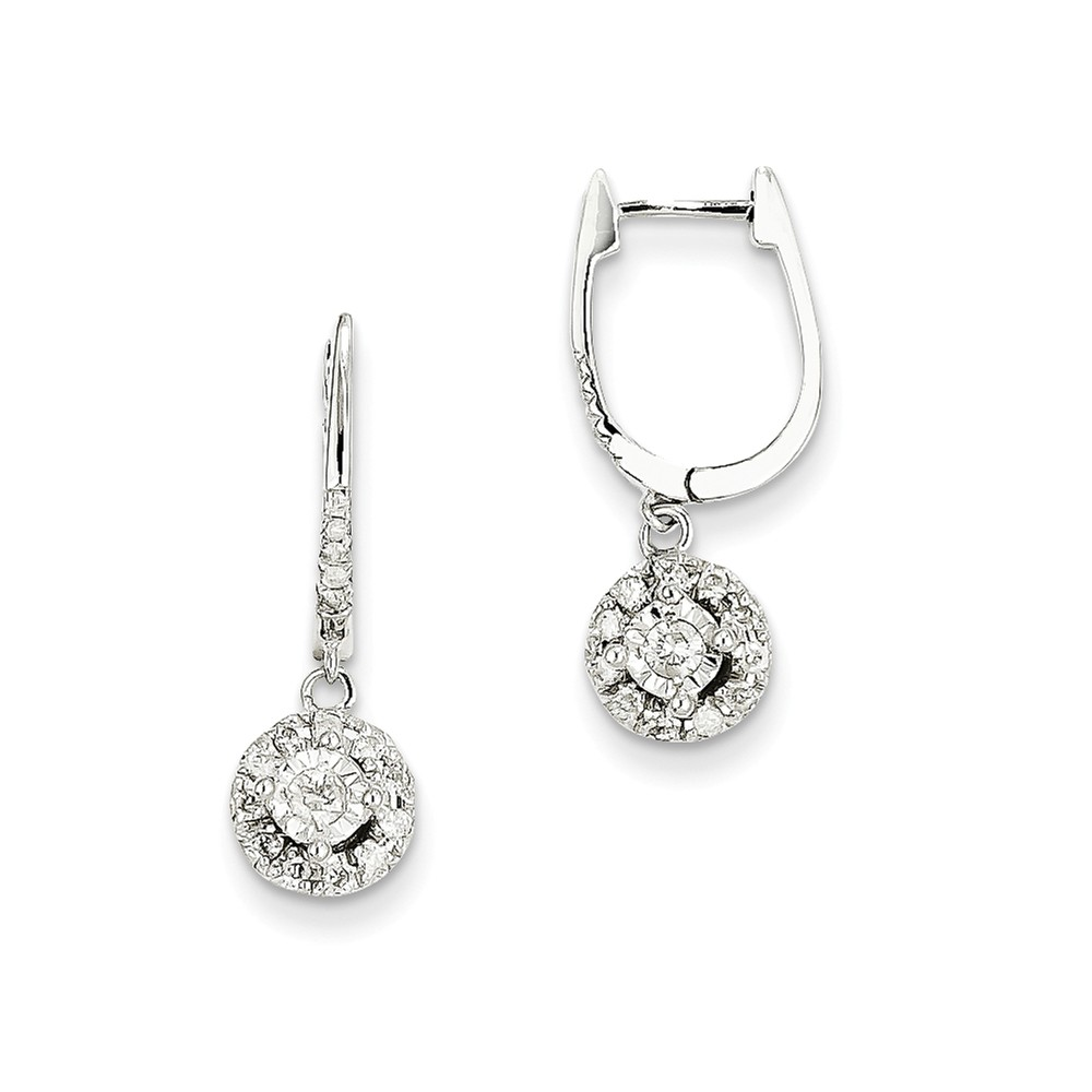 14k White Gold 0.35ct Diamond Round Dangle Hinged Earrings. Carat Wt- 0.35ct (0.9IN x 0.3IN )