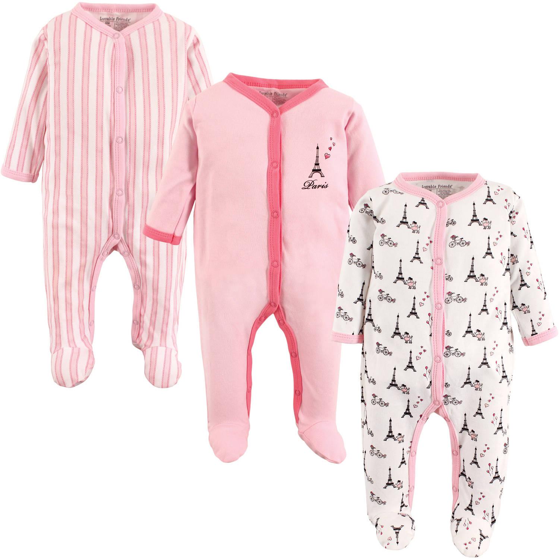 Luvable Friends Newborn Baby Girls Sleep N Play 3-Pack - Paris