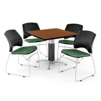"OFM Core Collection Breakroom Bundle, 36"" Square Metal Mesh Base Multi-purpose Table in Cherry, 4 Stars Stacking Chairs in Shamrock Green (PKG-BRK-017-0001)"