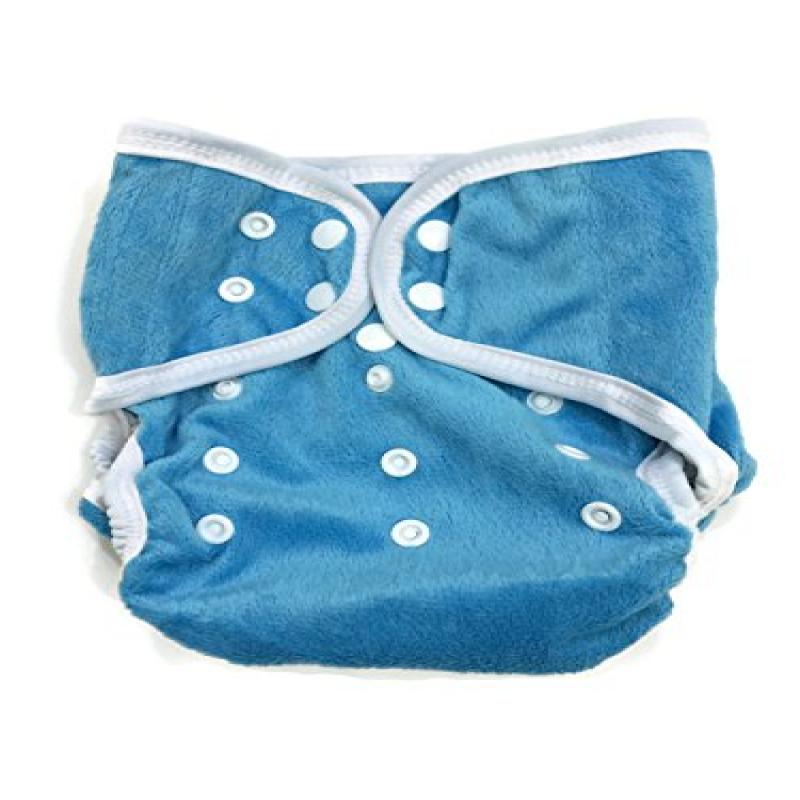 BB2 Baby One Size Solid Minky Minkee Snaps Cloth Diaper Cover for Prefolds (One Size, Blue)
