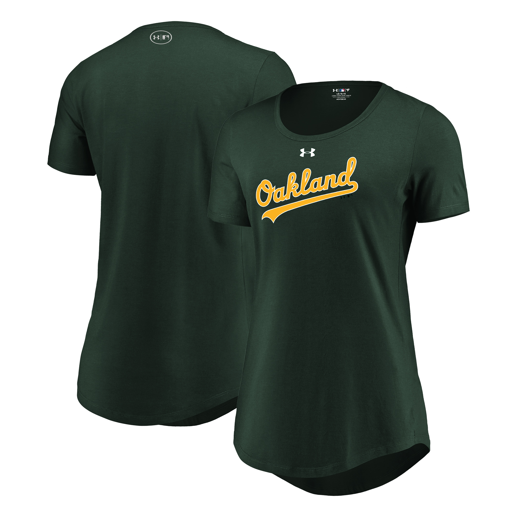 Oakland Athletics Under Armour Women's Passion Road Team Font Scoop Performance Tri-Blend T-Shirt - Green
