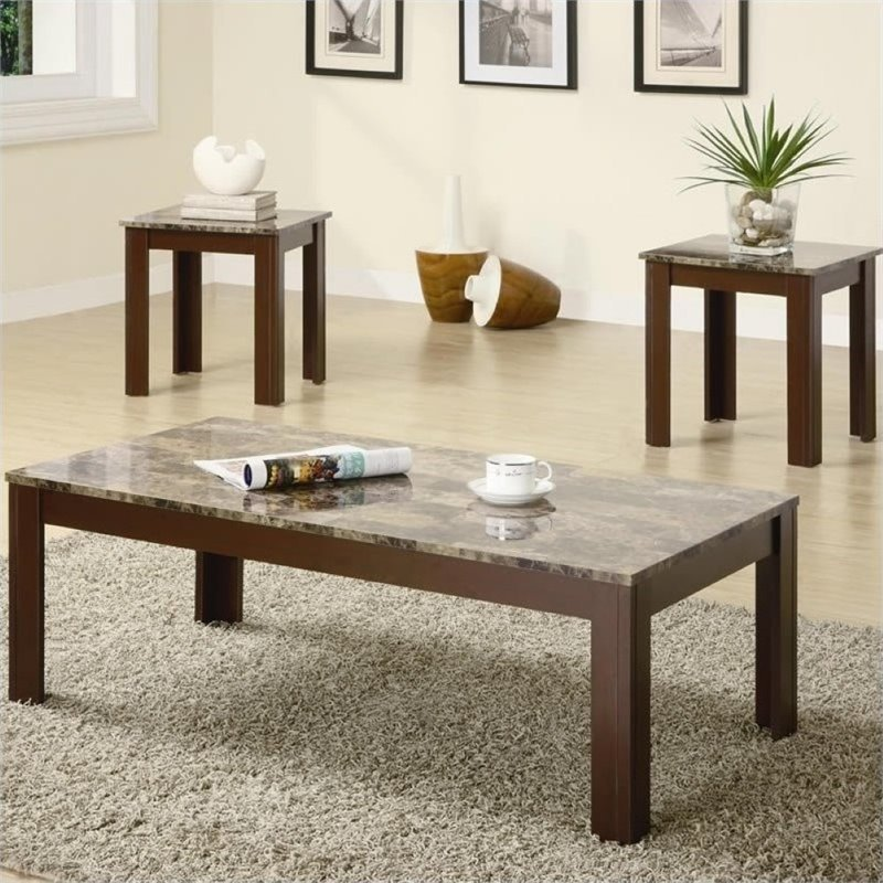 Bowery Hill 3 Piece Occasional Cocktail and End Table Set in Brown