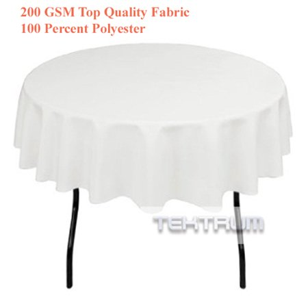 TEKTRUM 70 INCH ROUND POLYESTER TABLECLOTH - WHITE COLOR - Table Cloth Colors