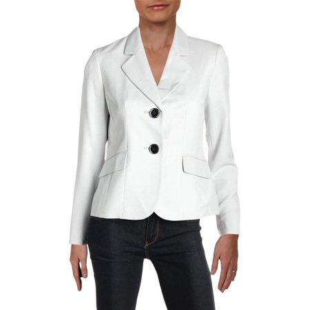 Le Suit Womens Petites Fitted Office Two-Button Blazer Gray 2P