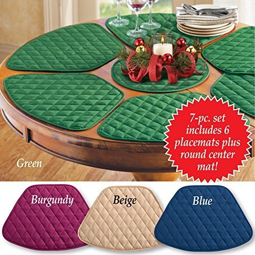 collections etc padded round table placemats and centerpiece 7pc beige by collections etc