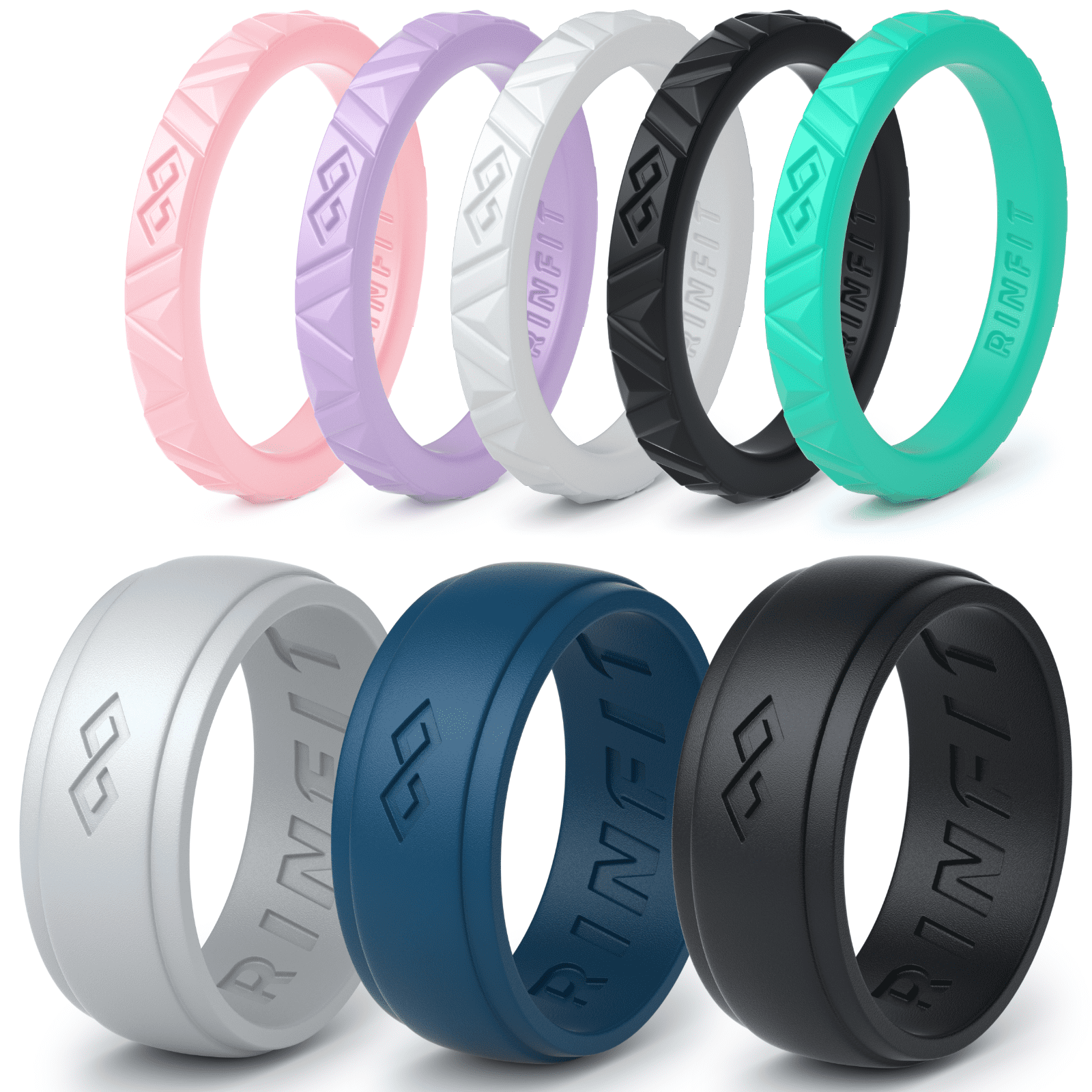 Silicone Wedding Rings Wedding Bands for Men and Women 8 Ring pack