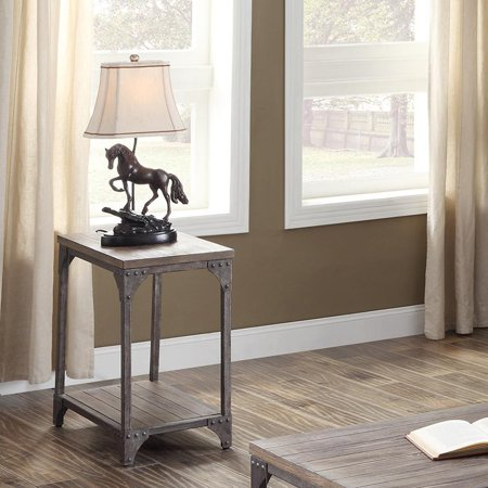 ACME Gorden End Table, Weathered Oak & Antique Silver