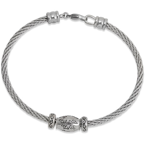 Connections from Hallmark Stainless Steel Cable Starter Bracelet, 7.25