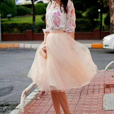 Women Tulle Tutu A line Skirt Short Knee Length Prom Princess Ballet Dress Beige - Sparkle Skirts Promo Code