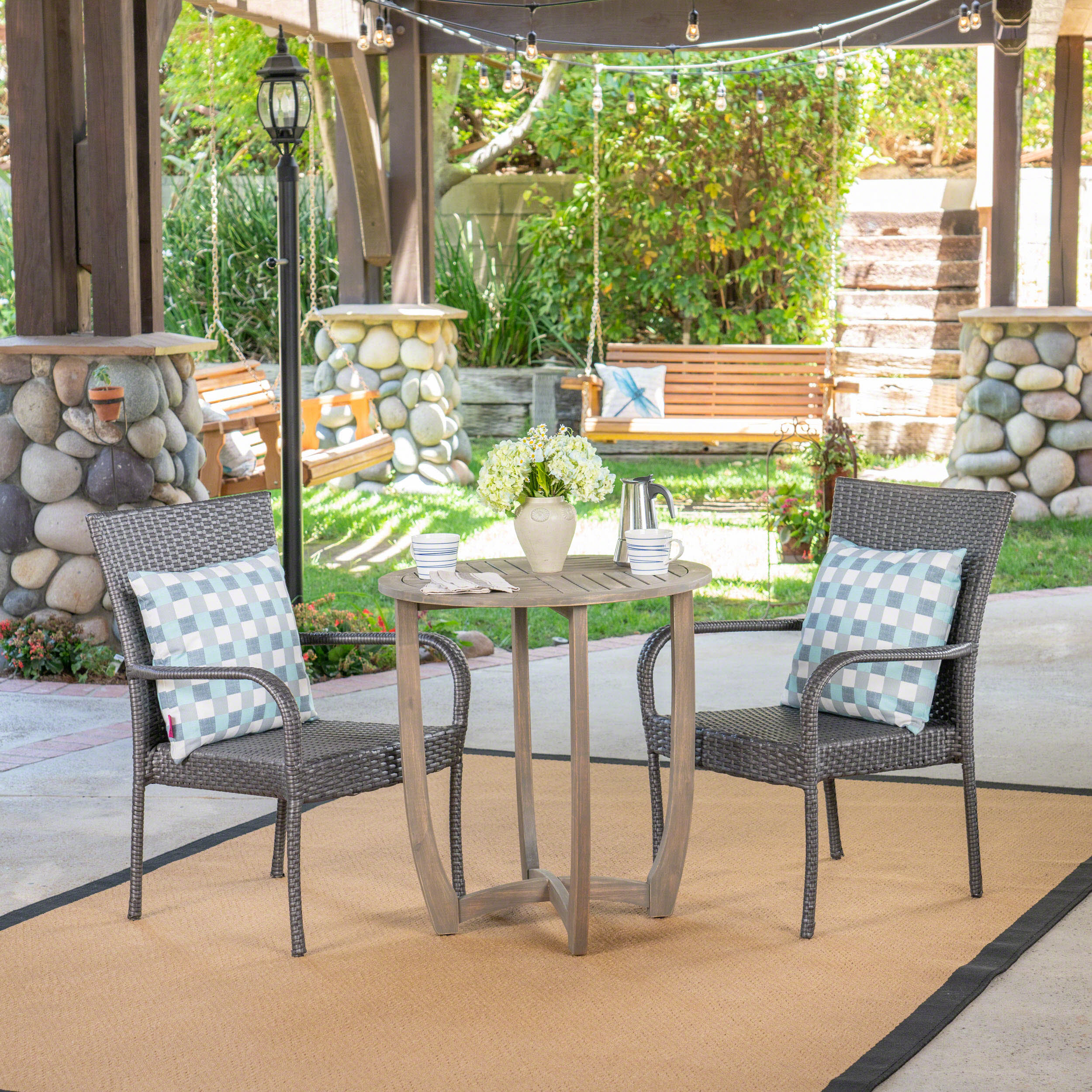 Albert Outdoor 3 Piece Wood and Wicker Bistro Set, Gray and Gray