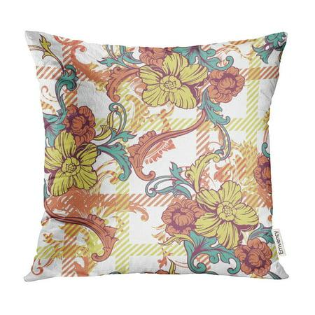 ECCOT Branch Eclectic Plaid Baroque Britain British Celtic Pillow Case Pillow Cover 16x16 inch