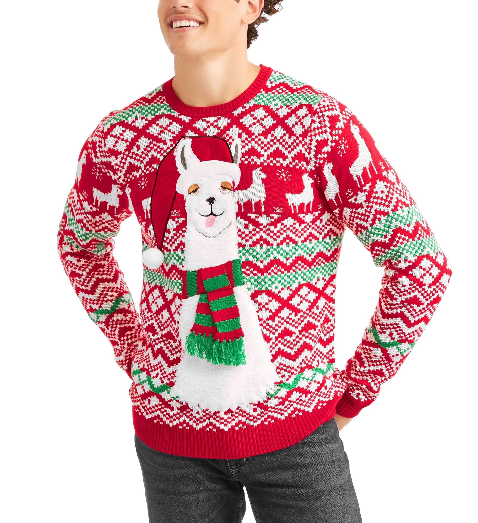 Ugly Christmas Sweater Scarf Llama Mens Ugly Christmas Sweater