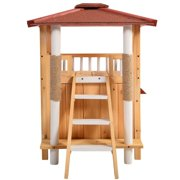 New MTN-G Indoor Cat House Outdoor Pet Shelter Roof Condo Wood Steps Balcony Puppy Stairs