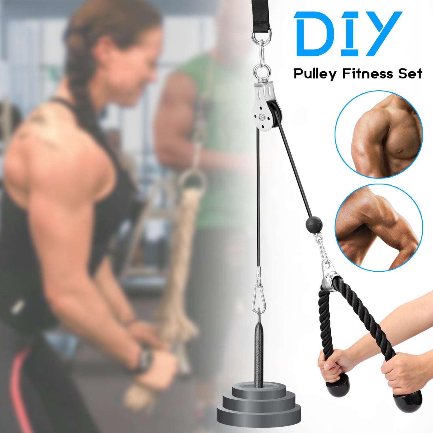 2Pcs Heavy Duty Fitness DIY Pulley Cable Machine Attachment Arm Forearm Hand