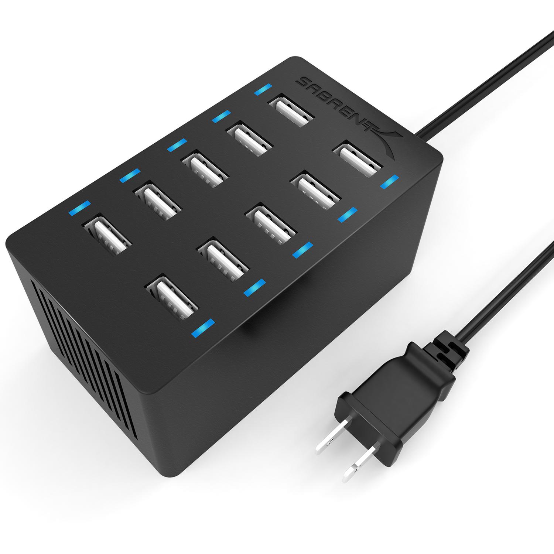 Sabrent AX-TPCS 60W 10-Port Desktop USB Rapid Charger, Black