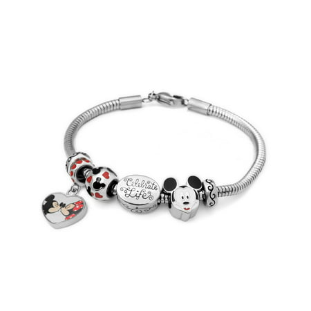 Stainless Steel Disney Mickey & Minnie Charm Bracelet Set