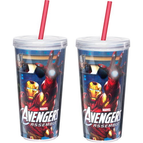 Zak! 2-Piece Avengers 16 oz Doublewall Tumbler with Lid and Straw