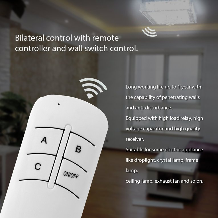 Switch 220V 3 Way On/Off Digital Rf Remote Control Switch Wireless For Light Lamp