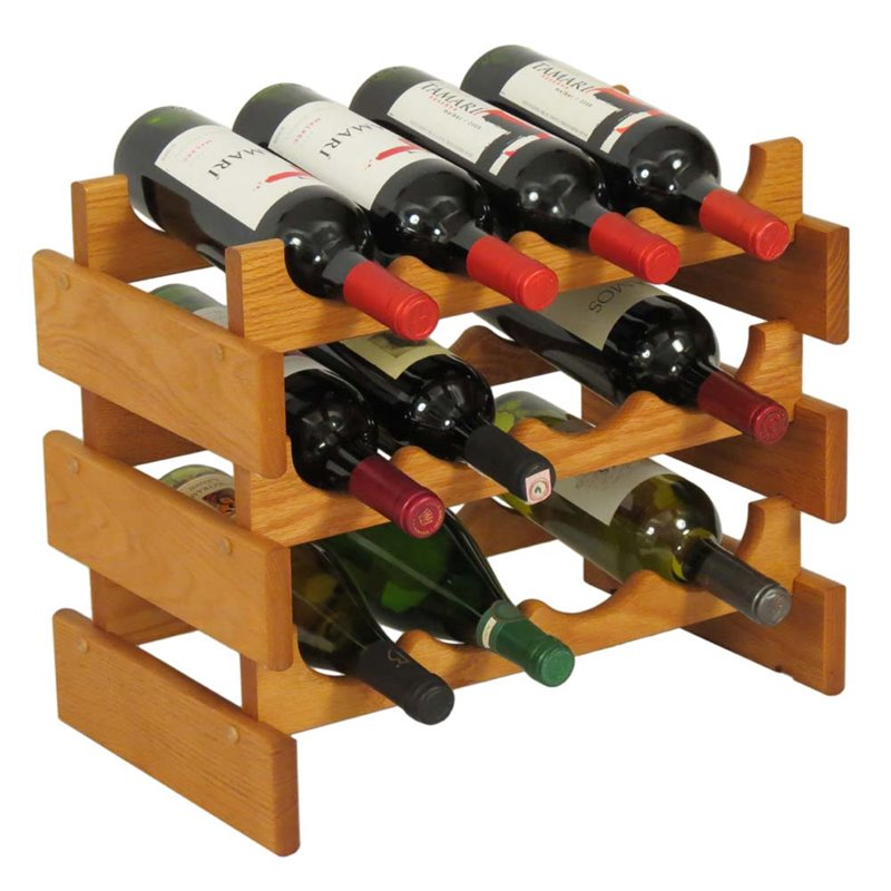 Wooden Mallet Dakota 3 Tier 12 Bottle Wine Rack in Medium Oak