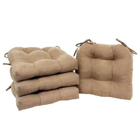 Mainstays Faux Suede Chair Cushion with Ties, Set of 4, Brownstone - French Country Chair Cushions