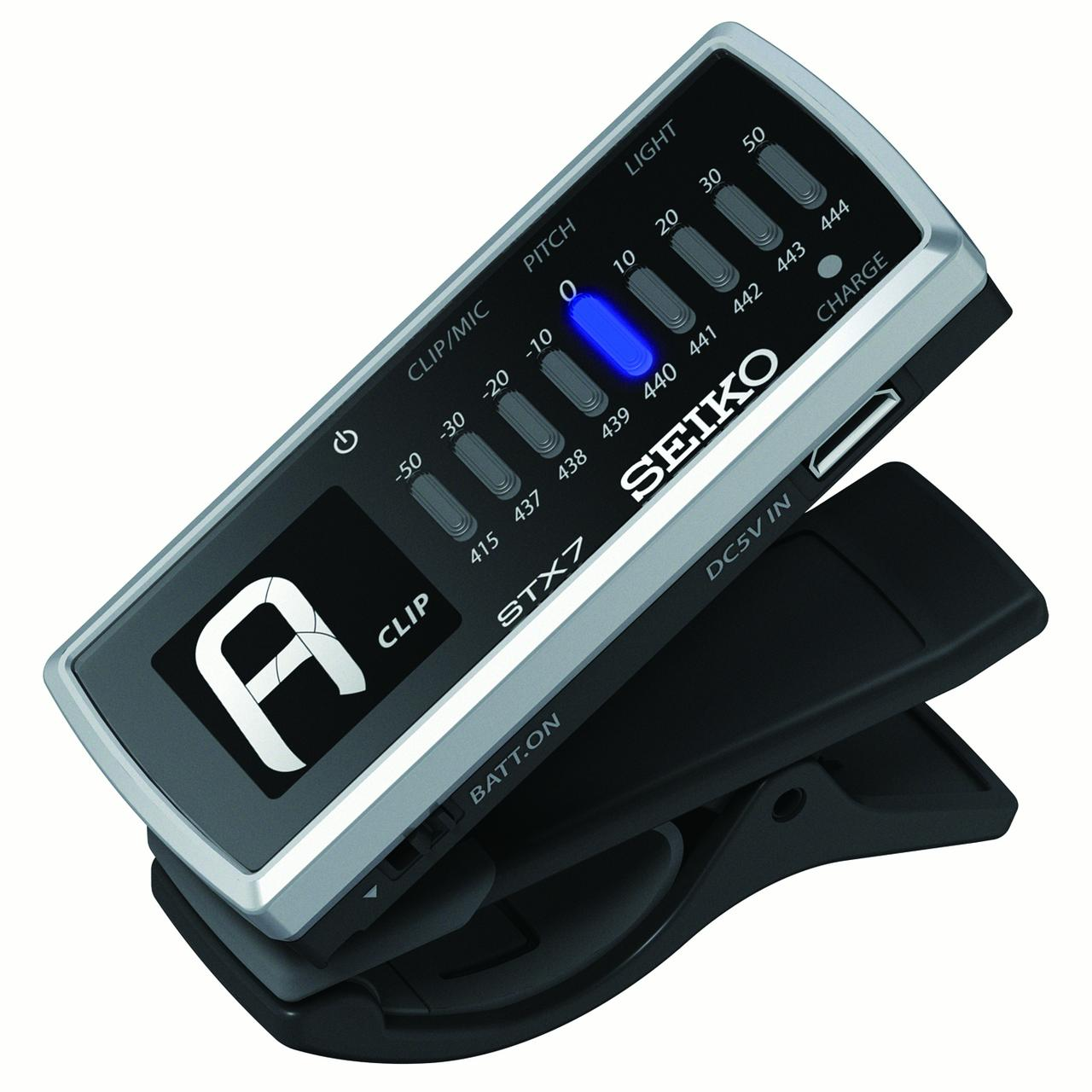 Seiko STX7 Rechargable Clip On Chromatic Tuner with LED Light
