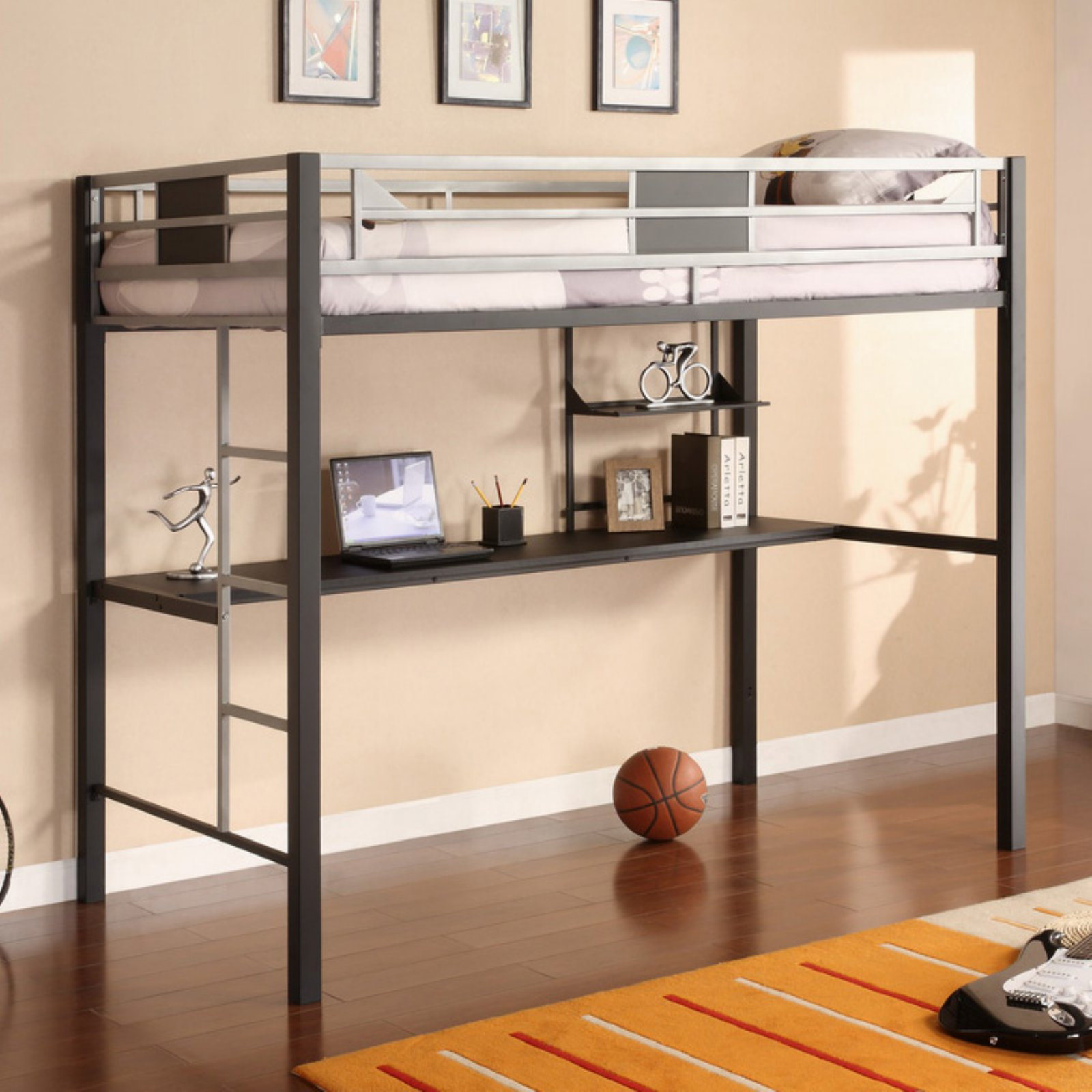 Dorel Silver Screen Twin Metal Loft Bed with Desk, Black/Silver