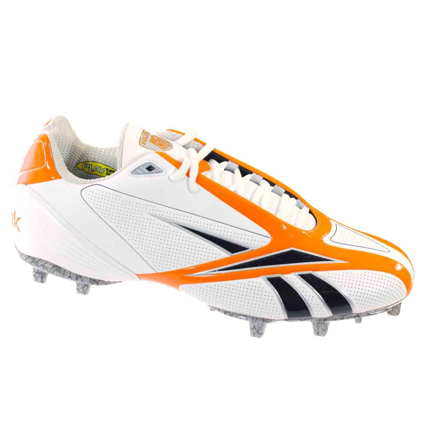 REEBOK PRO BURNER SPEED III LOW M3 MENS FOOTBALL MOLDED CLEAT WHITE ORANGE 9.5 M