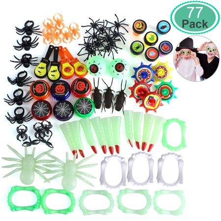 UNOMOR 77pcs 12 Patterns Halloween Toy and Novelty assortment Great for Trick Party Favors or Birthday GIft](Halloween Birthday Clipart)