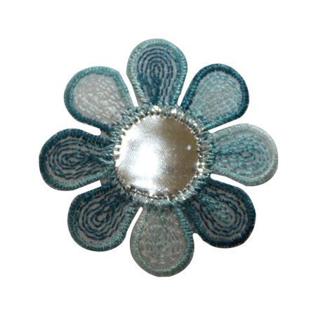 ID 6545 Shiny Blue Daisy Patch Flower Garden Craft Embroidered Iron On Applique ()