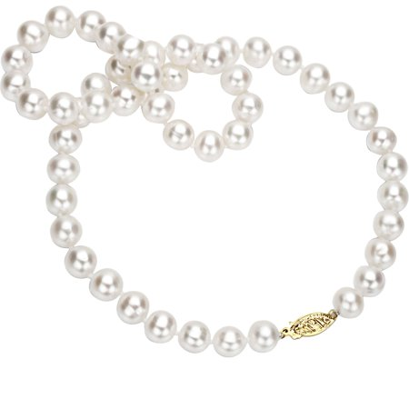 18kt Yellow Gold 5-6mm Freshwater White Pearl Women Jewelry Necklace (Big Pearls Necklace)