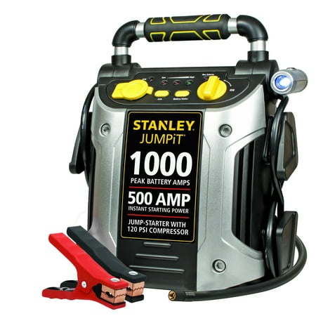 STANLEY J5C09 Power Station Jump Starter: 1000 Peak/500 Instant Amps, 120 PSI Air Compressor, Battery Clamps 1000 Peak Amp with Compressor