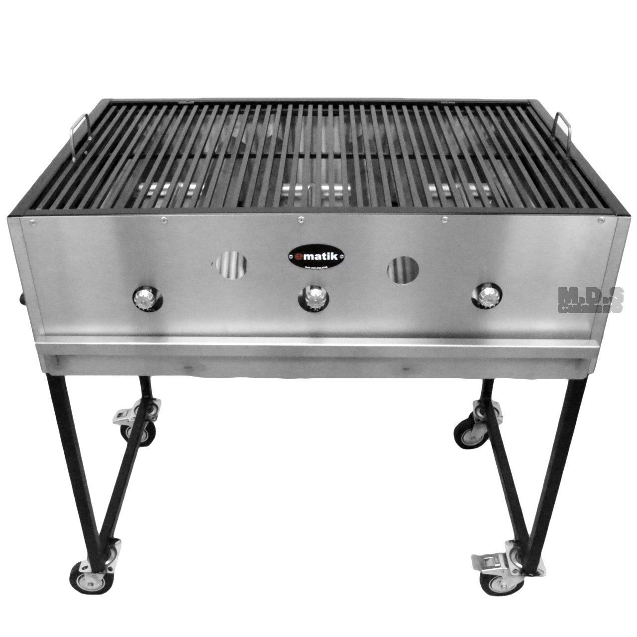 """Ematic Catering Cart 36"""" Grill 100% Pure Heavy Duty Gauge Steel Commercial Stainless Steel Taco Cart"""