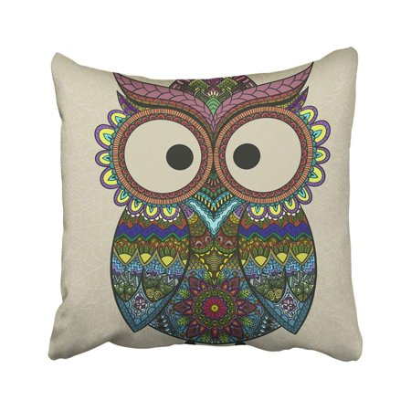 ARTJIA Boho Ornamental Owl Ethnics Abstract Doodle On Floral Sketch Of Totem Animal With Feather Pillowcase Throw Pillow Cover 18x18 (Owl Animal Totem)