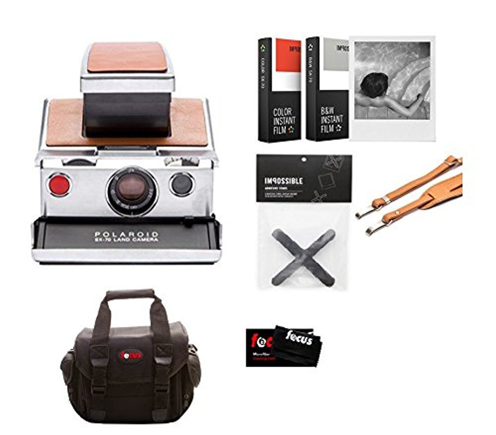 Impossible Polaroid SX70 Camera (Tan Leather) Starter Kit w  Film by Impossible