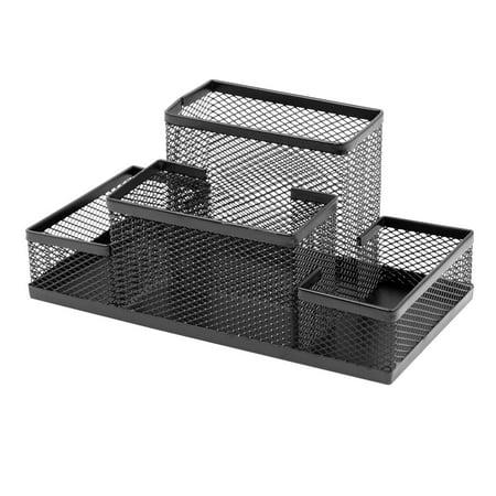 Black Metal Four Layers Office Desk Pen Holder Basket - image 1 of 1